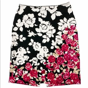 White House Black Market Floral Print Skirt